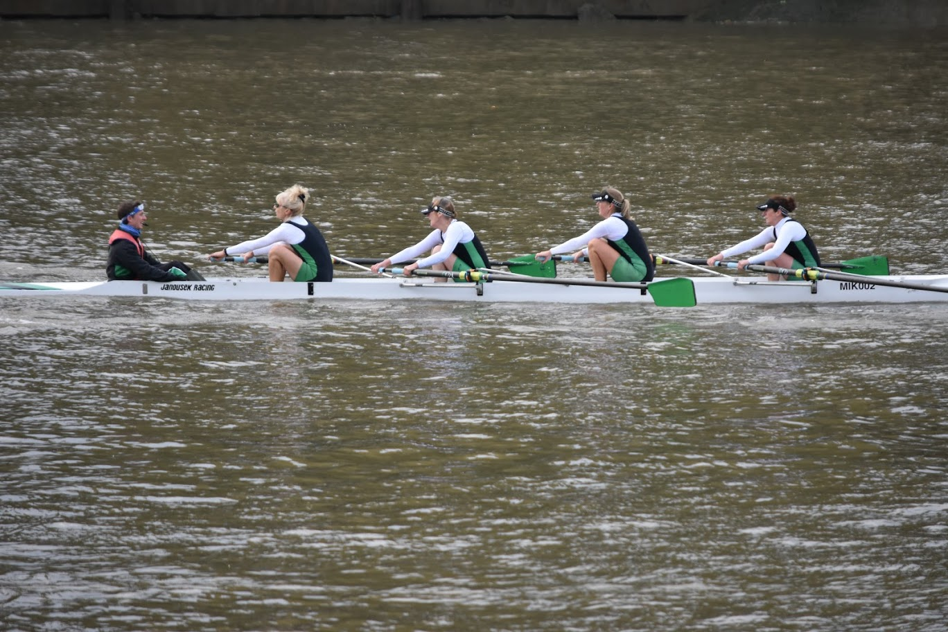 Women's D4+ crew in action on the Tideway
