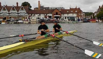 Helen and Jenny setting off at Henley