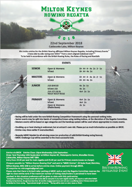 Milton Keynes Rowing Regatta 2018 @ Caldecotte Lake | Caldecotte | England | United Kingdom